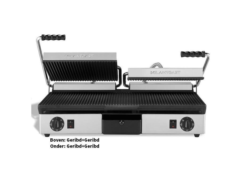 Milan Toast Contactgrill Gietijzer dubbel, geribd-geribd